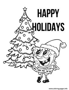 Print spongebob with christmas tree coloring pages