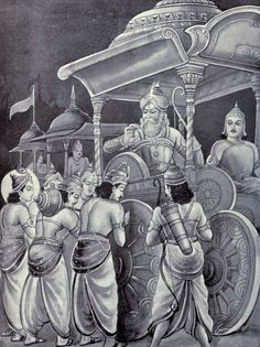 File:Pandavas headed by Yudhistira and accompanied by Krishna ask Bhishma permission to start the war.jpg