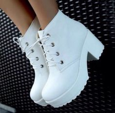 New fashion black&white punk rock lace up platform heels ankle boots thick heel platform shoes #dress #buyable