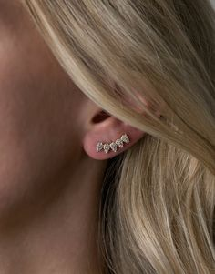 - Measures 1 inchlong  - Micro pave white zircon  - 14k gold over sterling silver