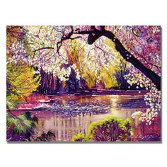 Artist: David Lloyd Glove Title: Central Park Spring PondProduct type: Giclee, gallery wrapped