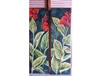 Two original oil paintings of vibrant red Cannas flowers with the characteristic striped leaves, painted by artist Carina Turck-Clark. The two paintings, size 100×30×4cm form a pair. The surface is textured to create a 3d illusion. Price excludes postage - dependant on where the buyer is located.