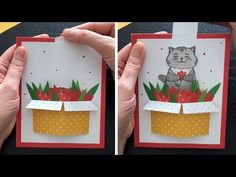 Here is my interactive card tutorial. I show how to make a cute surprise slider card with a box of tulips and a cat. Fun Fold Cards, Pop Up Cards, Folded Cards, Paper Toys, Paper Crafts, Libros Pop-up, Slider Cards, Interactive Cards, Up Book