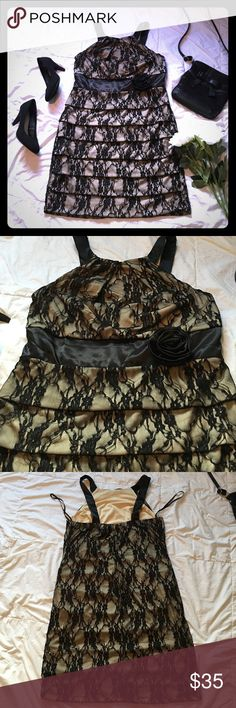 ⭐️NWOT Tiered Dress⭐️ •Black & Nude lace dress  •High neck style  •Zip & Hook closure  •Black satin sash with sewn on rose  •Tiered style flatters the figure  •Form fitting but lots of stretch  •19 inches across bust and waist  36 inches from top of the neckline to hem  •Elegant, sexy, & great condition 💕 torrid Dresses Mini