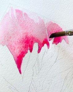 Pfingstrosen Aquarell - alles fließt! So cool, so prächtig pink! Mit dieser einfachen Schrittanleitung auf meinem Blog Creative - Club gelingt dir dieses Aquarell sicher auch! Schritt für Schritt wird es dir gelingen. Druck dir die Vorlage aus und probier's einfach!  Die erste Farbschicht wird aufgetragen. Zuerst die Fläche mit Wasser benetzen, dann die Farbpigmente einfließen lassen. Mehr liest du auf meinem Blog, wir sehen uns, freu mich! Watercolor Video, Watercolour Tutorials, Watercolor Techniques, Floral Watercolor, Watercolor Paintings, Painting Tutorials, Art Floral, Tangle Patterns, Botanical Illustration