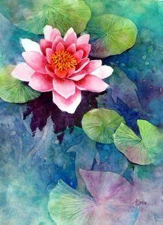 Картина Идеи Спокойный Цветок лотоса (17) #watercolorarts