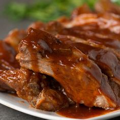 Featuring Honey Garlic Slow Cooker Ribs, Korean-style Ribs, Giant BBQ Rib Sandwich (To Feed A Crowd), Slow Cooker Ribs and One-Pan Baby Back Ribs Best Pork Ribs Recipe, Slow Cooker Ribs Recipe, Pork Rib Recipes, Meat Recipes, Slow Cooker Recipes, Mexican Food Recipes, Crockpot Recipes, Chicken Recipes, Cooking Recipes