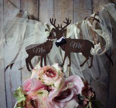 Deer wedding cake topperBridegroomivoryveilMr by MorganTheCreator, $22.00