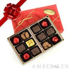 Sugar Free Holiday Gift Box Sampler - Chocolate Covered Caramels, Almonds and Gourmet Truffles - $8.45 - www.amberlynchocolatestore.com/Sugar-Free-Mini-Holiday-Sampler-p/hgft62.htm