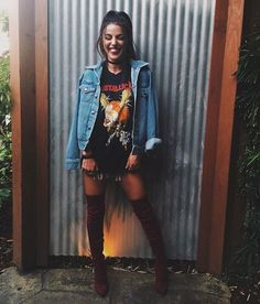 Cute Concert Outfits For Every Type Of Concert Here's how to recreate this rocker chic concert outfit!Here's how to recreate this rocker chic concert outfit! Mode Outfits, Fall Outfits, Fashion Outfits, Womens Fashion, Fashion Ideas, Fashion 2017, Fashion Trends, Fashion Styles, Edgy Summer Outfits
