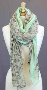Mint & grey leopard Scarf