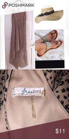 Cheetah print sun dress Hi low dress with drawstring waist.  Perfect beach attire. freebird Dresses High Low