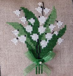 Moments with Moreen: Lily of the valley my birthday flower Moments with Moreen: Lily of the valley my birthday flower Cross Stitch Heart, Cross Stitch Cards, Beaded Cross Stitch, Cross Stitch Flowers, Counted Cross Stitch Patterns, Cross Stitch Designs, Cross Stitching, Cross Stitch Embroidery, Hand Embroidery Flowers