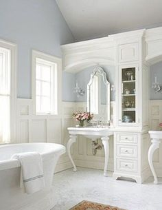 abundant natural light, calming hues, his and hers sinks