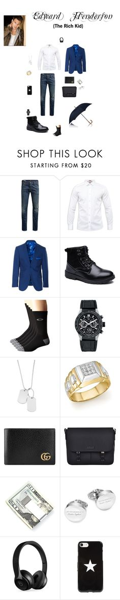 """Edward Henderson (The Rich Kid)"" by dragonheartse on Polyvore featuring Jack & Jones, Ted Baker, Paisley & Gray, Oakley, TAG Heuer, Variations, Bloomingdale's, Gucci, Bugatchi and Kenneth Cole"