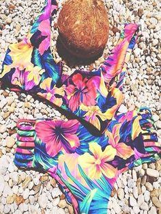 Flower Print Bandage Bikini Set