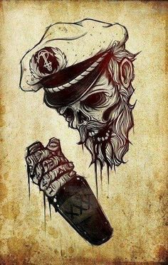 This image gives inspiration for the skin and mood of caliban. I like the skull look, but yet it is more human than a skeleton, and that is kinda what I want in caliban. A pirate that is a mix between human and skeleton or monster. Flash Art, Brust Tattoo, Muster Tattoos, Totenkopf Tattoos, Skull And Bones, Skull Art, Dark Art, Cool Art, Tattoo Designs