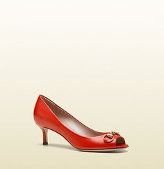 gucci low red open toe pump