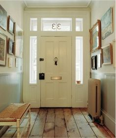Love these floors! Love the light grey wainscotting with the white on top. HMMMM.