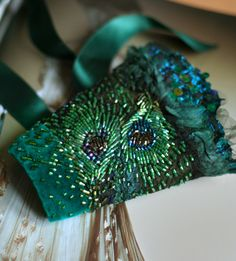 Crystal Feathers  Art Nouveau textiles inspired hand beaded wide cuff