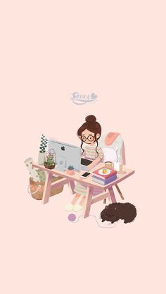 Illustration by Senny Art And Illustration, Illustrations, Kawaii Wallpaper, Girl Wallpaper, Wallpaper Ideas, Cute Wallpaper For Girls, Drawing Wallpaper, Trendy Wallpaper, Computer Wallpaper