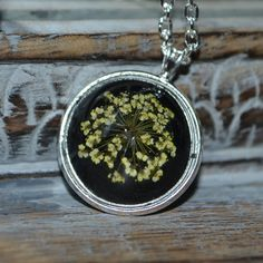 Queen Anne Lace Resin Spherical pendant on a silver setting - Real Flower Jewellery Resin Jewellery, Queen Annes Lace, Botanical Flowers, Real Flowers, Pendant, Unique Jewelry, Handmade Gifts, Silver, Etsy