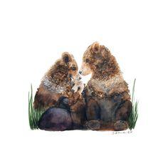 Bear Family Painting Woodland Nursery Art Bear Watercolor