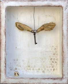 Art, if necessary: winged keys series, assemblage on plaster By Laly Mille http://www.lalymille.etsy.com