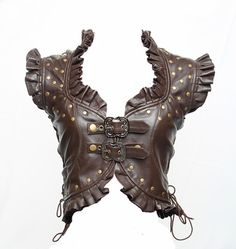 Brown lamskin leather steampunk vest