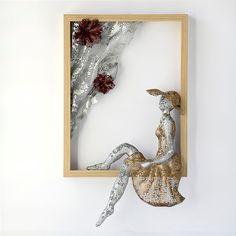 Metal wall art - Framed art -  women sculpture - Home decor - Wire mesh sculpture -Contemporary art. $245.00, via Etsy.