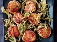"""Quick-cooking scallops are delicious in a buttery lemon-caper sauce."" - Scallops with Fennel Grenobloise Recipe from Food & Wine Fish Recipes, Seafood Recipes, Dinner Recipes, Cooking Recipes, Recipies, Coquille Saint Jacques, Quick And Easy Appetizers, Scallop Recipes, Raw Vegetables"
