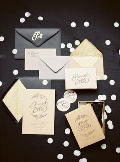 Ideas for your wedding getaway car and a black and gold wedding inspiration board. Black And Gold Invitations, Black Wedding Invitations, Wedding Stationary, Carton Invitation, Invitation Paper, Invitation Design, Invitation Suite, Invitation Ideas, Wedding Paper