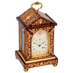 Tortoiseshell and Brass Inlay Mantel Clock by Webster, Cornhill | From a unique collection of antique and modern clocks at https://www.1stdibs.com/furniture/more-furniture-collectibles/clocks/