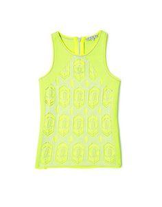 Yellow Drew Lace Knit Tank Top by Dagmar