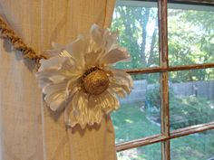 Shabby Chic Curtain Tie Back Macrame Curtain by YoursTrulli