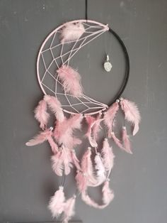 Dreamcatcher crescent moon, baby pink with feathers and rock crystal Dreamcatchers, Feathers, Etsy Seller, Moon, Crystals, Unique, Creative, Pink, Baby