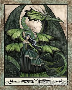 11x14 Art Print - Dragon Bride Green by Amy Brown, Amy Brown, Fantasy Art Trading's Online Store