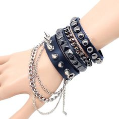 Cool Punk Rock Rivet Multi layer Spiked with Chain Suit Leather Wristband Bracelet Unisex Bangle Easygoby