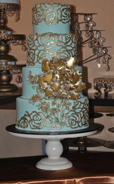 Aqua and Gold wedding cake  ~ hand gold gilded and all edible