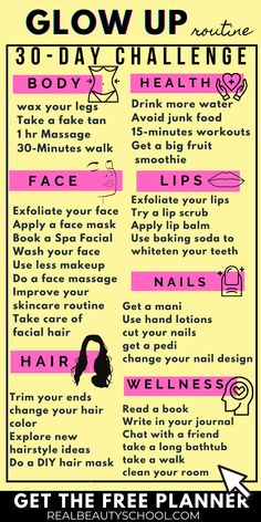 Beauty Tips For Glowing Skin, Health And Beauty Tips, Back To School Glo Up, Beauty Routine Checklist, Self Care Bullet Journal, The Glow Up, Vie Motivation, Day Glow, Glow Up Tips