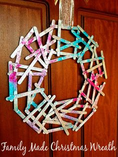Homemade Christmas Decorations: Popstick Wreath - pinned by @PediaStaff – Please Visit  ht.ly/63sNt for all our pediatric therapy pins