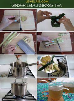 Ginger lemongrass tea    Recipe here: http://jewelpie.com/ginger-lemongrass-tea-to-calm-your-soul-a-recipe-from-mandara-spa/