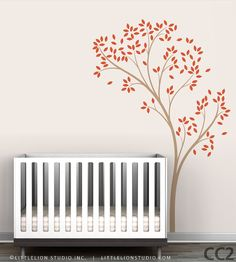 Spring Tree Wall Decal Delicate tree decal Kids by LeoLittleLion