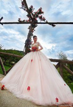 victoria soprano 2017 bridal cap sleeves illusion jewel sweetheart neckline heavily embellished princess blush color ball gown wedding dress sheer button back chapel train (climentina) mv -- Victoria Soprano 2017 Wedding Dresses