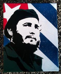 Fidel Castro Cuban Flag Original Stencil Art by StencilKiller