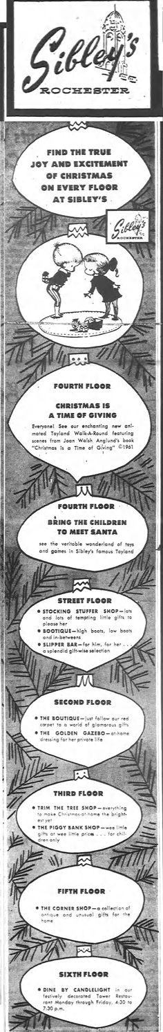 Sibley's ROCHESTER NY DEMOCRAT AND CHRONICLE * Thursday, December 14, 1967 Christmas on every floor of the Store. Rochester New York, Finger Lakes, Retro Pop, What Happened To You, Trivia, Old Photos, Vintage Christmas, Buffalo, Thursday