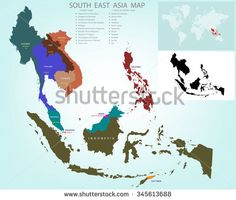 Map of Southeastern Asia divided by the countries /Country names and capital A caption The black and white images tell spot on the world map. - stock vector