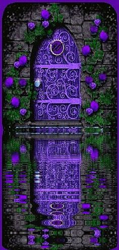 Vibrant purple ... door echoing flowers echoing door ... all reflecting in the still water