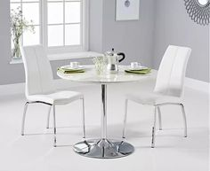 Deborah marble dining set in white with 2 white naos chairs - 50778 modern, contemporary budget dining table & chairs. In round, square & rectangle. Space Saving Dining Table, Grey Dining Tables, Dining Set, Dining Chairs, Oak Furniture Superstore, White Table Top, Stylish Kitchen, Table Seating, Small Dining