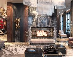 Rendrs of cottage in Moscow region. on Behance Luxury Homes Interior, Luxury Home Decor, Luxury Apartments, Home Interior Design, Modern Fireplace, Fireplace Design, Luxury Sofa, Luxury Living, Living Room Tv Unit Designs